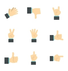 Gestural icons set flat style vector