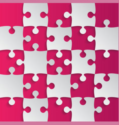 grey puzzle pieces pink - jigsaw field chess vector image