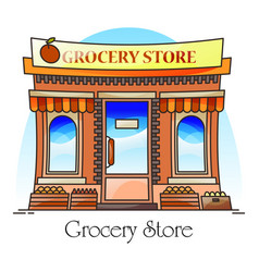 Grocery shop or natural goods store food market vector