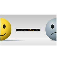 happy and sad face ball emotional background vector image