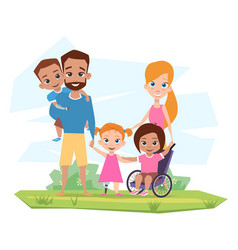 Happy family with children with disabilities vector