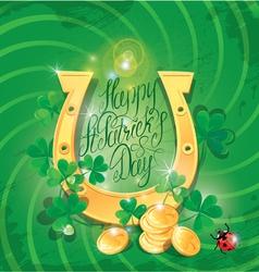 Happy St Patricks Day Shamrock horseshoe ladyb vector