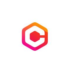 hexagon letter c logo icon design vector image