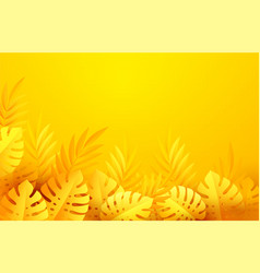 hot yellow summer tropical leaves paper cut style vector image