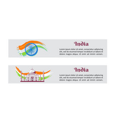 Independence day india posters with national flag vector