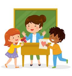 Kids loving their teacher vector
