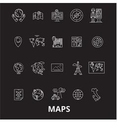 maps editable line icons set on black vector image