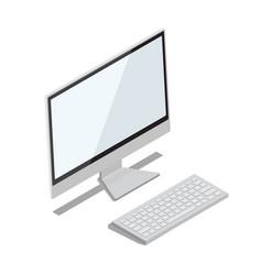 Modern computer with big thin monitor vector