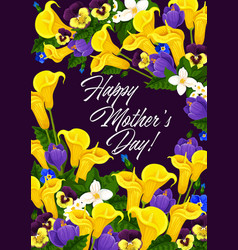 mother day greeting card in spring flower frame vector image