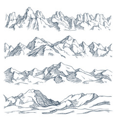 Mountains landscape engraving vintage hand drawn vector