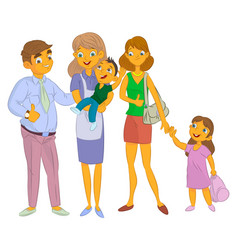 Nanny with kid and family vector