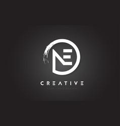 Ne circular letter logo with circle brush design vector