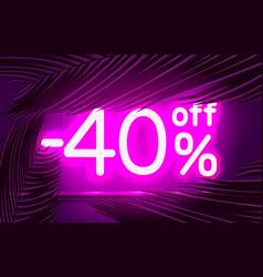 Neon frame 40 off text banner summer bar vector