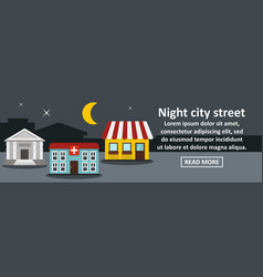 night city street banner horizontal concept vector image