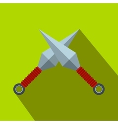 Ninja weapon kunai throwing knifes flat icon vector image