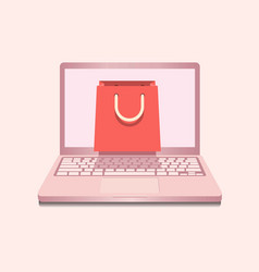 notebook in rose color with shopping bag vector image