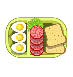 Nutritious tasty lunch in convenient green plastic vector