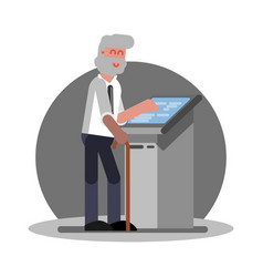 Old man using atm vector