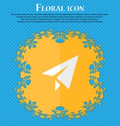 Paper airplane Floral flat design on a blue vector image