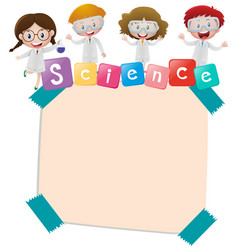 paper template with kids and science vector image