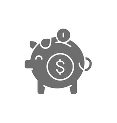 piggy bank save money grey icon isolated vector image