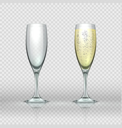 Realistic champagne glass empty and full vector