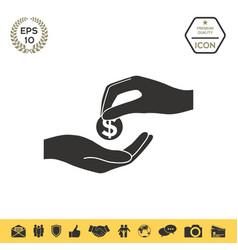 Receiving money icon vector