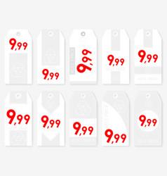 Rectangle sale tags set ten rectangle white vector