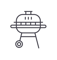 Round barbeque line icon sign vector