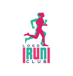 run club logo emblem with abstract running people vector image
