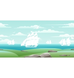 Sea landscape with ships vector