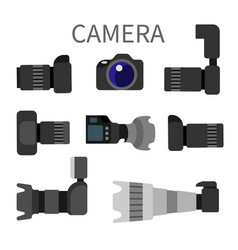 set high resolution action cameras removable lens vector image