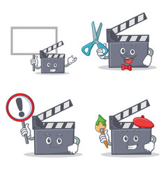 Set of movie clapper character with bring board vector