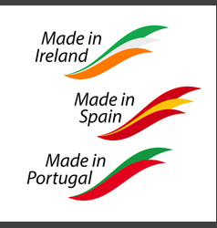 Simple logos made in ireland made in spain made vector