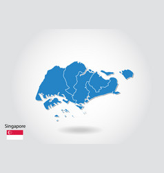 Singapore map design with 3d style blue singapore vector