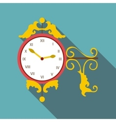 Street clock icon flat style vector