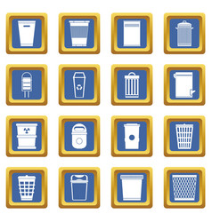 Trash can icons set blue vector