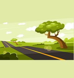 Tree growing near a country road vector