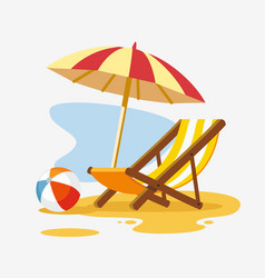 Umbrella and sun lounger on the beach vector