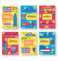 Usa brochure cards thin line set country vector