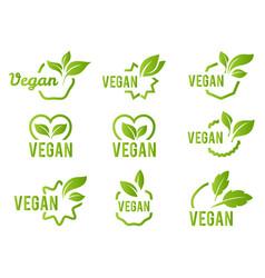 vegan icon set bio ecology organic logos vector image