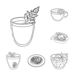 Vegetarian dish outline icons in set collection vector