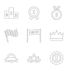 Victory and reward icons set outline style vector image