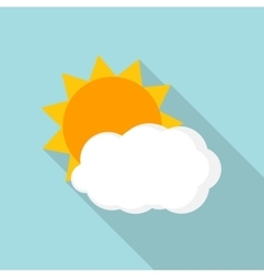 Weather Icons with Sun and Cloud in Flat Style vector