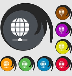 Website Icon sign Symbols on eight colored buttons vector