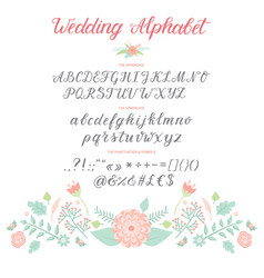 wedding day ceremony alphabet text celebration vector image