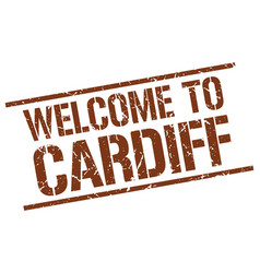 Welcome to cardiff stamp vector