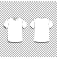 white men s t-shirt template v-neck front and vector image