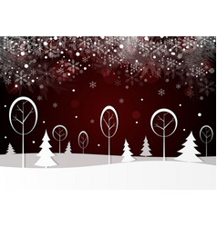winter landscape with snowy forest vector image