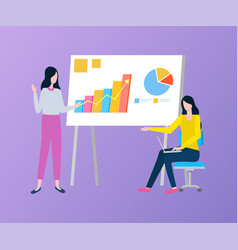 women presenting chart and diagram on board vector image